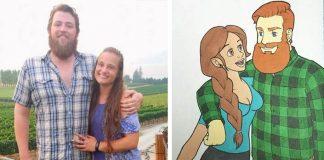 Kellen Hickey nakreslil seba s priateľkou v štýle desiatich animákov