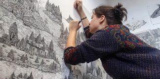 Olivia Kemp | Detailné perokresby kombinujú reálnu a imaginárnu krajinu