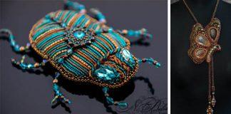 Nadezhda Belokon z korálikov šije vkusné šperky v tvare hmyzu