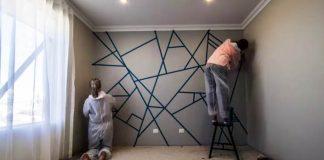 Maľovanie geometrických tvarov na stene | DIY nápad ako vymaľovať