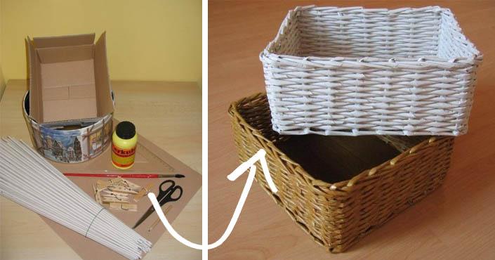 33e352375 Košík pletený z papiera | Návod na pletenie košíka z papierových ruličiek