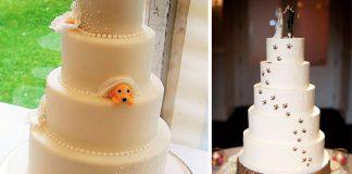 Svadobné torty ozdobené domácimi miláčikmi | 15 kreatívnych nápadov