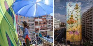 Mona Caron maľuje na steny mestských budov maľby liečivých rastlín