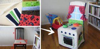 Návlek na stoličku ušitý ako látková detská kuchynka na hranie | Návod