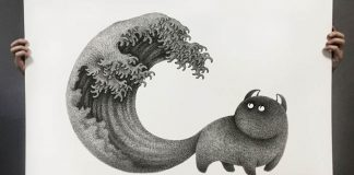 Jemné atramentové čiary tvoria podmanivé ilustrácie čiernych mačiek