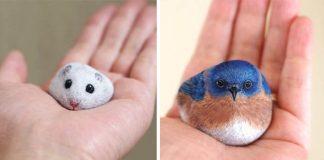 Akie Nakata maľuje realistické portréty zvierat na obyčajných kameňoch