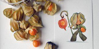 Akvarelové ilustrácie postavičiek inšpirované zeleninou a ovocím