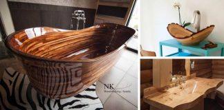 Drevené vane a umývadlá | 20 inšpirácií na vane a umývadlá z dreva