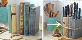 Stojan na nože z kníh | Kreatívny nápad na originálny doplnok do kuchyne
