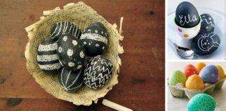 Veľkonočné vajíčka maľované tabuľovou farbou pre vlastný dizajn kriedami