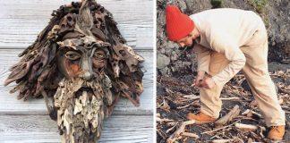 Sochy tvárí z naplaveného dreva | Umenie spod rúk Bennett Ewing