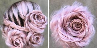 Účes v tvare ruže je priam ideálny na jarné dni | Pletené ruže z vlasov
