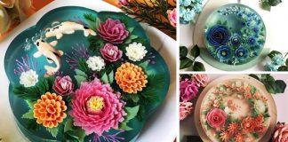 Želatínové torty vyzerajú ako sklo prikrývajúce krehké kvety či rybičky