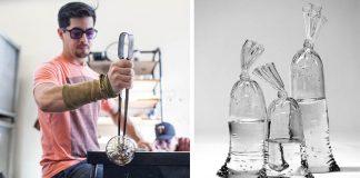 Dylan Martinez | Sklenené sochy imitujú plastové sáčky naplnené vodou