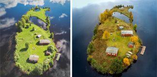 Kotisaari | Malý fínsky ostrov zachytený v 4 ročných obdobiach z vtačej perspektívy