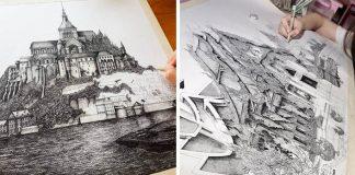 Detailné atramentové kresby architektúr z celého sveta | Emi Nakajima