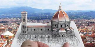 Pietro Cataudella kombinuje fotografie a kresby svetoznámych architektúr