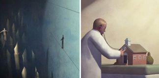 Stuart McReath vo svojich ilustráciách kritizuje dnešnú spoločnosť