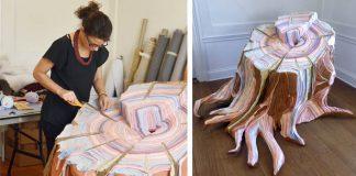 Sochy pníkov vyrobené zo starého oblečenia | Tamara Kostianovsky