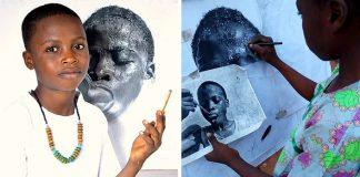 11-ročný nigerský chlapec Waspa kreslí hyperrealistické portréty