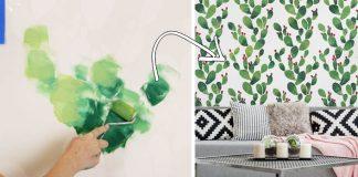 Kaktusová stena | Kreatívny DIY nápad a návod ako na nástennú maľbu s kaktusmi