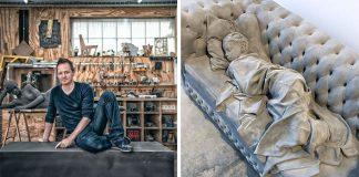 Monochromatické sochy z hliny v životnej veľkosti | Hans Op de Beeck
