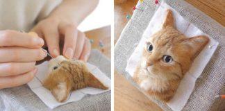 Plstené portréty mačiek | Ručne tvorené portréty mačiek z plsti od Wakuneco