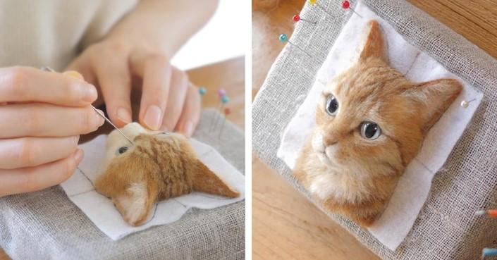 902612fcd Plstené portréty mačiek | Ručne tvorené portréty mačiek z plsti od Wakuneco