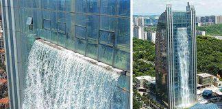 Vodopád na mrakodrape | Číňania vytvorili na budove 100 m vodopád