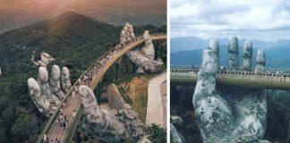 Zlatý most vo Vietname držia obrovské kamenné ruky | Golden Bridge