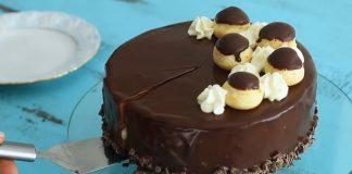 Profiterole torta | Čokoládová torta s buchtičkami z odpaľovaného cesta