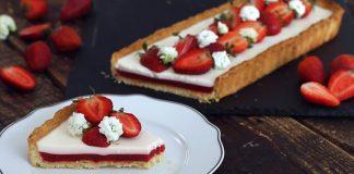Tart s bazalkovou panna cottou a jahodovým želé | Recept