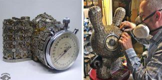 Steampunkové sochy zo súčiastok starých hodiniek | Dan Tanenbaum