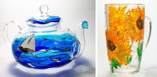 Ručne maľované sklenené šálky, poháre a čajníky | Falošné vitráže