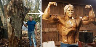 Drevená socha Arnolda Schwarzeneggera v životnej veľkosti | Umenie