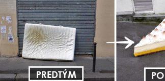 Sochy jedál vytvorené zo starých vyhodených matracov | Street art Lor-K