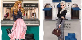 Ilustrácie Disney princezien v luxusných značkách | Anastasia Kosyanova