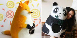 Plstené pelechy pre mačky | Ručne výrábané mačacie pelechy Meow Felt