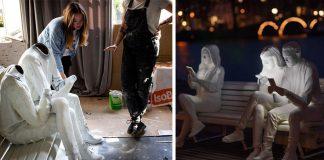 Sochy ľudí závislých na mobilných telefónoch | Festival svetiel Amsterdam