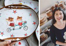 Maľovaná keramika s ilustráciami ako z detských rozprávkových kníh