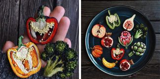 Vyšívané brošne zeleniny a ovocia | Krásne zeleninové a ovocné brošne