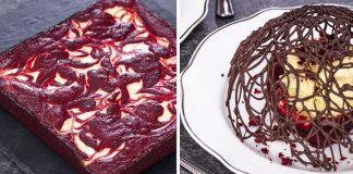 Red velvet brownies s príchuťou cheesecaku s čokoládovou čipkou
