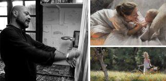 Poetické maľby žien a detí pastelovými farbami | Vicente Romero Redondo