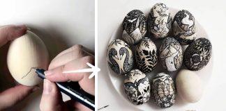 Veľkonočné drevené vajíčka ručne maľované ilustráciami sú plné detailov