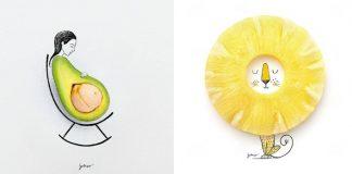 Hravé minimalistické Ilustrácie kombinujú nájdené objekty a kresby