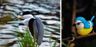 Sochy vtákov z balónov napodobňujú ich náprotivky v reálnom živote