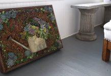 Obraz zo sukulentov a záhradného náradia | DIY návod na živú dekoráciu